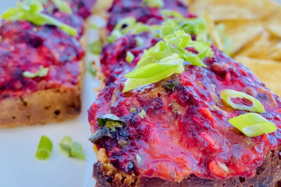 Beetroot and four cheeses toastie